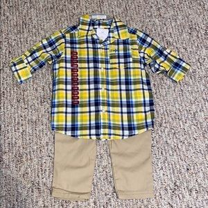 NWT Plaid and khaki 2 piece Carter's 18M set